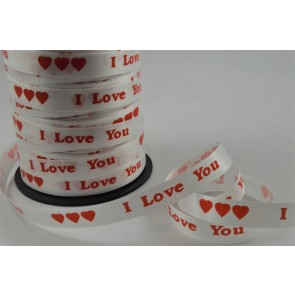 77028 - 10mm White Polypropylene I Love You Curling Ribbon x 100 Metre Rolls!!