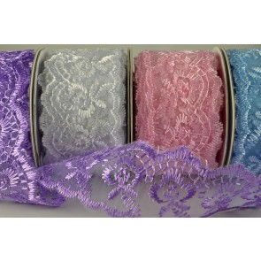 88015 - 38mm Coloured Woven Lace Effect Design (10 Yards)
