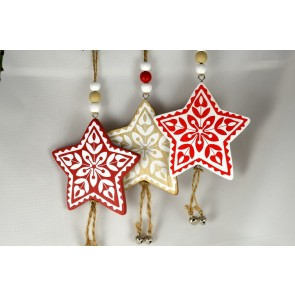 88019 - Wooden Multi Coloured Star with Loop (1 Piece)