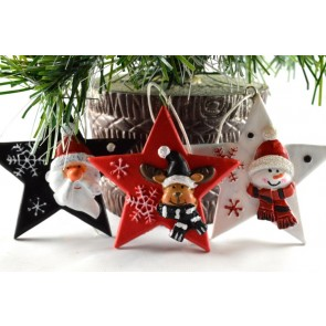 88021 - 3 Piece Set - Coloured Decorated Stars with String!