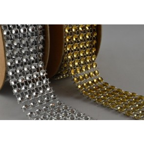 88066 - 25mm Diamante Beaded Mesh x 1 Metre Strip!