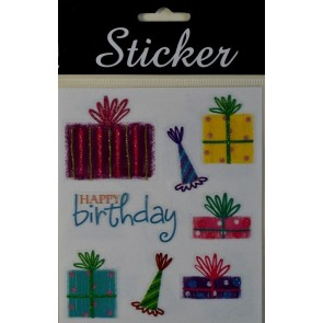 88081 - Happy Birthday Glitter Presents Stickers