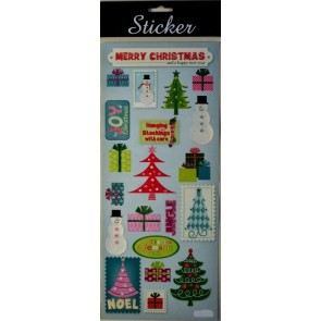 88090 - Merry Christmas Trees, Snowmen & Present Stickers