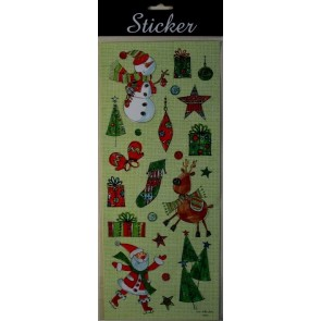 88091 - Red & Green Reindeer, Snowmen & Santa Christmas Stickers