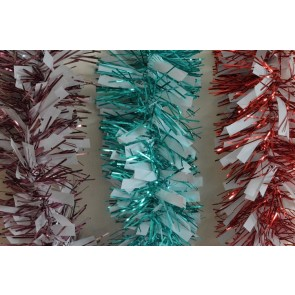 88134 - Coloured Tinsel with Hanging White Deco x 2 Metre Lengths!
