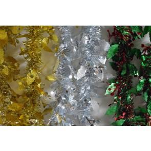 88136 - Christmas Holly Leaf & Mistletoe Tinsel x 2 Metre Lengths!