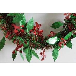 88136 - Red & Green Christmas Holly Leaf & Mistletoe Tinsel x 2 Metre Lengths!