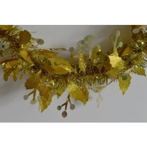 88136 - Gold Christmas Holly Leaf & Mistletoe Tinsel x 2 Metre Lengths!