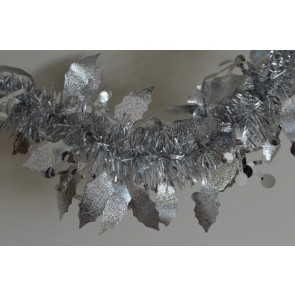 88136 - Silver Christmas Holly Leaf & Mistletoe Tinsel x 2 Metre Lengths!