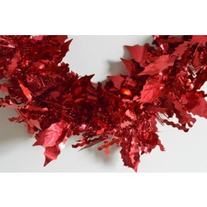 88138 - Red Coloured Holly Leaf Tinsel x 2 Metre Lengths!