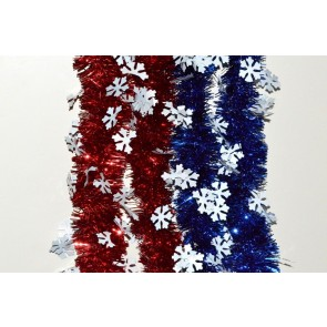88139 - Coloured Tinsel with Hanging White Snowflakes x 2 Metre Lengths!