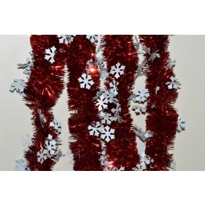 88139 - Red Coloured Tinsel with Hanging White Snowflakes x 2 Metre Lengths!