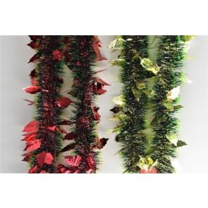 88142 - Triple Coloured Holly Leaf Christmas Tinsel x 2 Metre Lengths!