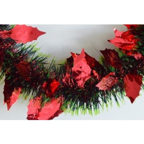 88142 - Red Triple Coloured Holly Leaf Christmas Tinsel x 2 Metre Lengths!
