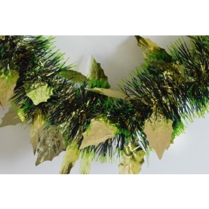 88142 - Gold Triple Coloured Holly Leaf Christmas Tinsel x 2 Metre Lengths!