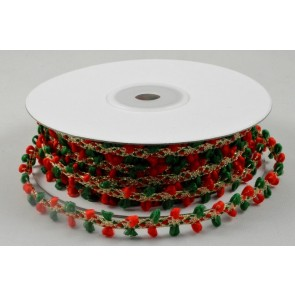88145 - 10mm Gold Ribbon with Red & Green Thread Edging x 20 Metre Rolls!