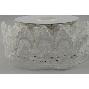 88151 - 50mm White Lace Flower Design x 4.5 Yard Rolls!