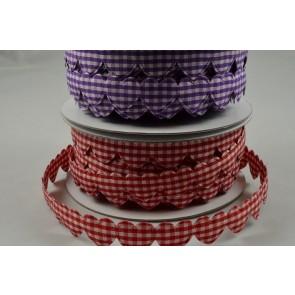 88152 - 15mm Gingham Fabric Hearts x 10 Metre Length!