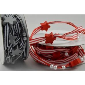 88158/9 - 5mm Pencil Striped Ribbon with Star & Pearl Accessories x 3 Metre Rolls!