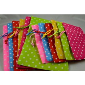 Set of 3 Small Or Medium Polka Dot Gift Bags with Draw Strings!