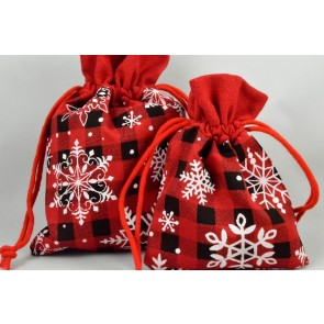 88169 - Set of 3 Small or Medium Merry Christmas Snowflake Bags & Draw Strings!