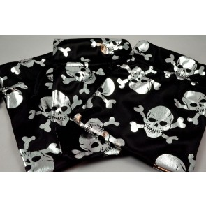 Set of 3 Black & Silver Pirate Skull Gift Bags with Draw Strings!