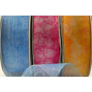 94276 -25mm 40mm 70mm Thinly slit Sheer with Subtle Flower Print (20 Metres)