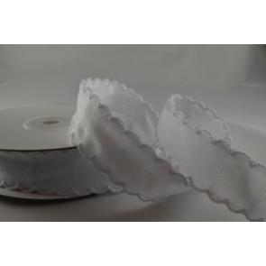 55020 - 25mm White Coloured Scallop Ribbon with decorative Zigged Edge x 10 Metre Rolls!!