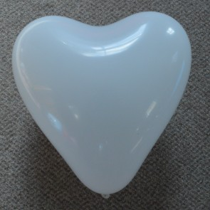 "12"" White Love Heart Latex Balloons (Pack of 6)"