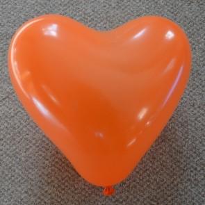 """12"""" Orange Love Heart Latex Balloons (Pack of 6)"""