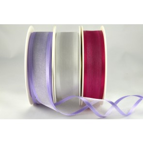 54420 - 10mm, 15mm, 25mm, 40mm & 70mm Satin Sheer Ribbon x 25 Metre Rolls