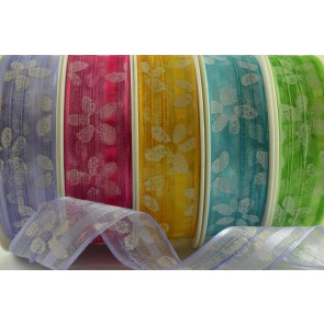 44055 - 25mm & 40mm Wired Sheer Printed Flowers (20 Metres)