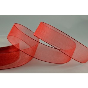 54419 - 9mm Red Sheer Organza Ribbon x 25 Metre Rolls!