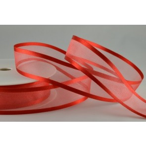 54420 - 15mm Red Satin Sheer Ribbon x 25 Metre Rolls!
