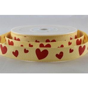 54405 - 15mm Red Heart Herringbone Ribbon (20 Metres)