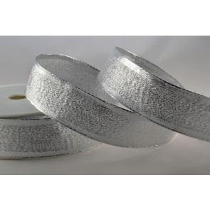 44089 - 25mm Silver Tightly Woven Wired Lurex (20 Metres)