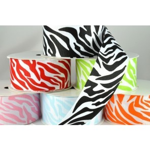 54551 - 38mm Zebra Printed Coloured Ribbon (20 Metres)