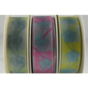 43929 - 25mm & 40mm Wired Flower Printed Ribbon (20 Metres)