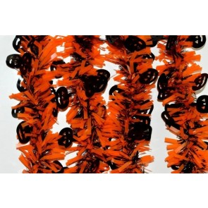 88143 - Orange & Black Halloween Tinsel with Hanging Black Pumpkins x 2 Metre Length!