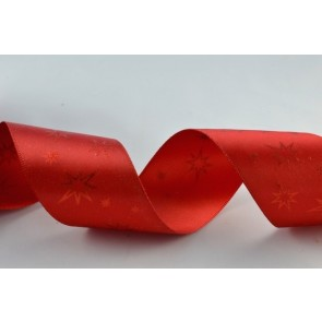 55002 - 38mm Red Starred Printed Ribbon (20 Metres)