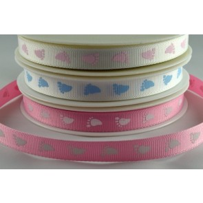54268 - 10mm Printed Baby Feet Ribbon (20 Metres)