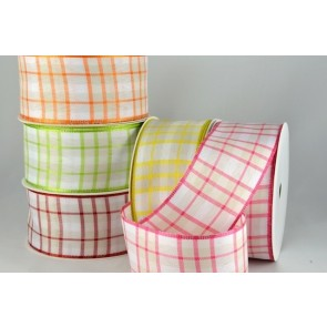 44547 - 40mm Wired Florist Gingham Ribbon (20 Metres)