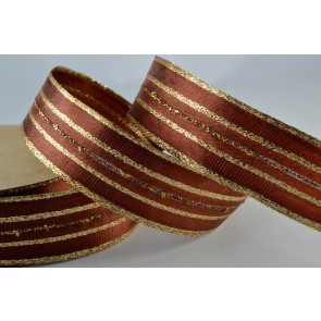 44070 - 25mm Wired Brown & Gold Woven Ribbon x 3 Metre Rolls!