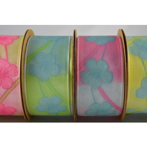 43929 - 25mm/40mm Wired Printed Flower Ribbon x 3 Metre Rolls!