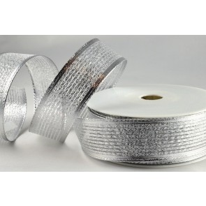40019 - 15mm Silver Wired Lurex Ribbon (20 Metres)