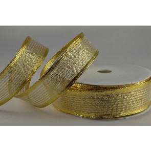 40019 - 15mm Gold Wired Lurex Ribbon (20 Metres)