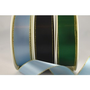 53781 - 3mm, 7mm, 15mm, 25mm, 38mm & 50mm Satin with Lurex Edge (20 Metres)