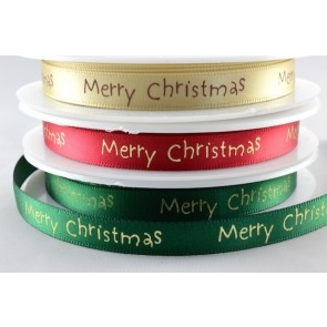 54113 - 10mm Merry Christmas Satin Print (20 Metres)