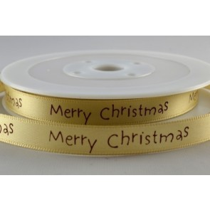 54113 - 10mm Gold Merry Christmas Satin Print (20 Metres)
