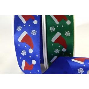 54022 - 25mm Santa Hats & Snowflake Satin Printed Ribbon (20 Metres)